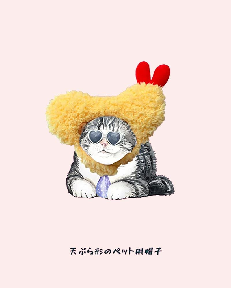 Shop Kashima Ebi Tempura Pet Hat cartoon cat wearing hat