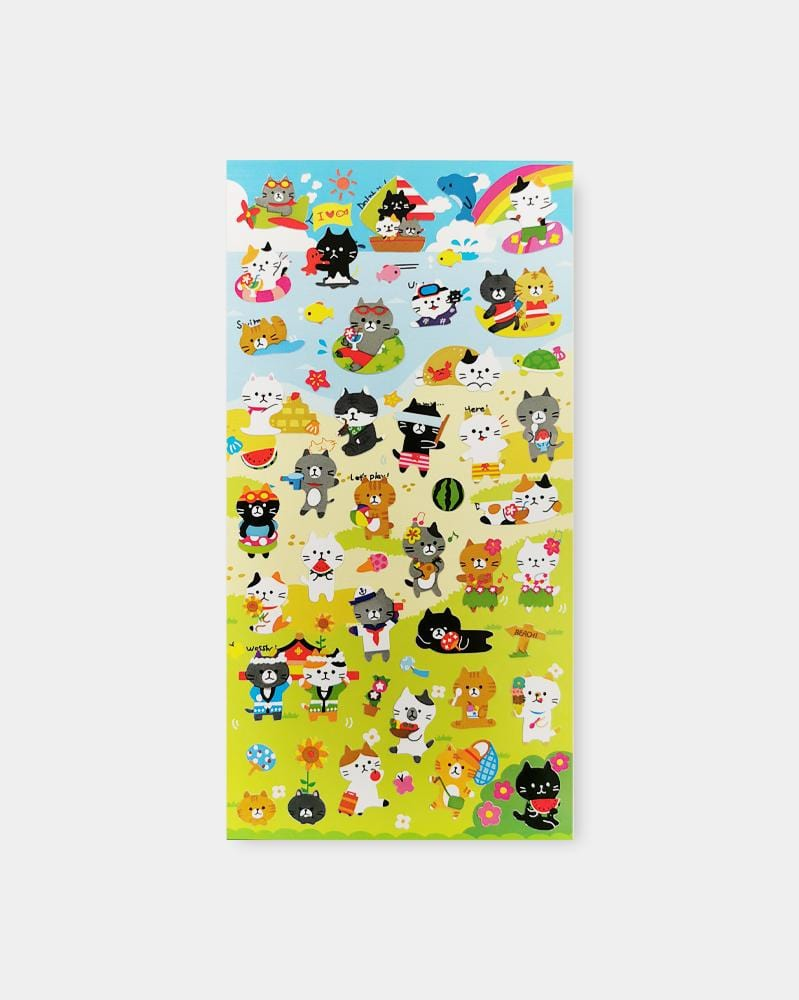 Shop Mind Wave Summer Selection Beach Cats Japanese Sticker Sheet