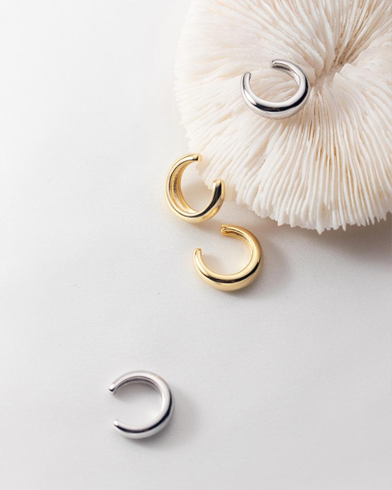 shop sukoshi Minimalistic C-Shape Cuff Faux Earrings sterling jewelry collection in gold and silver