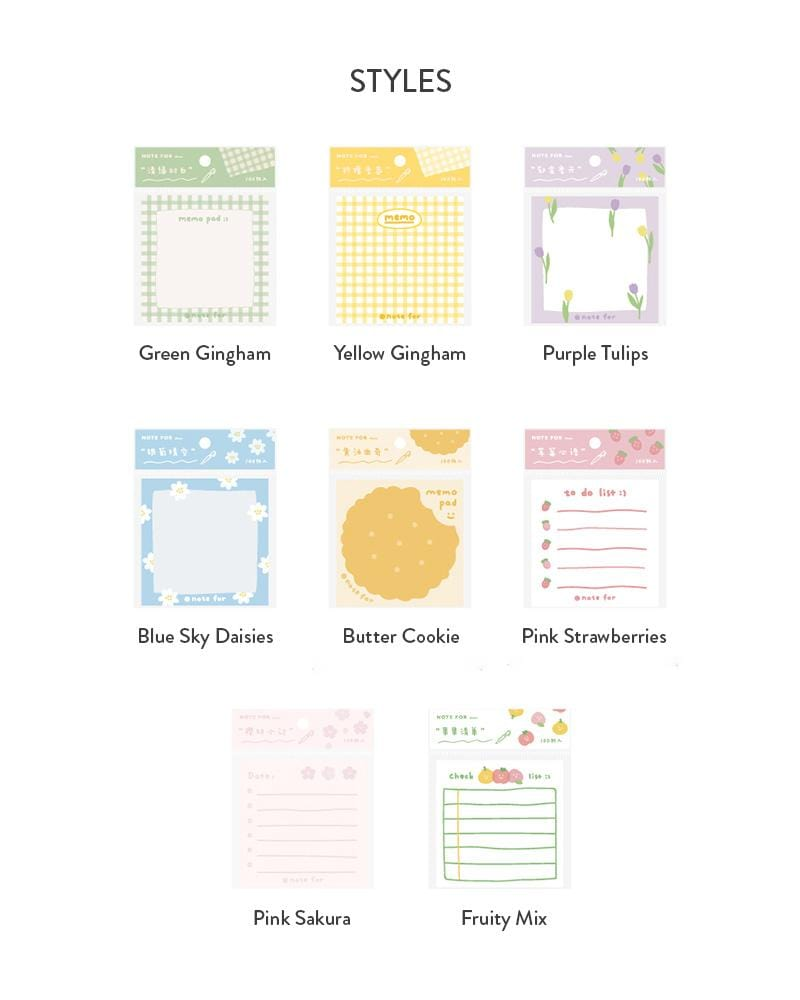 NOTE FOR Summer Fruit Notepad Styles