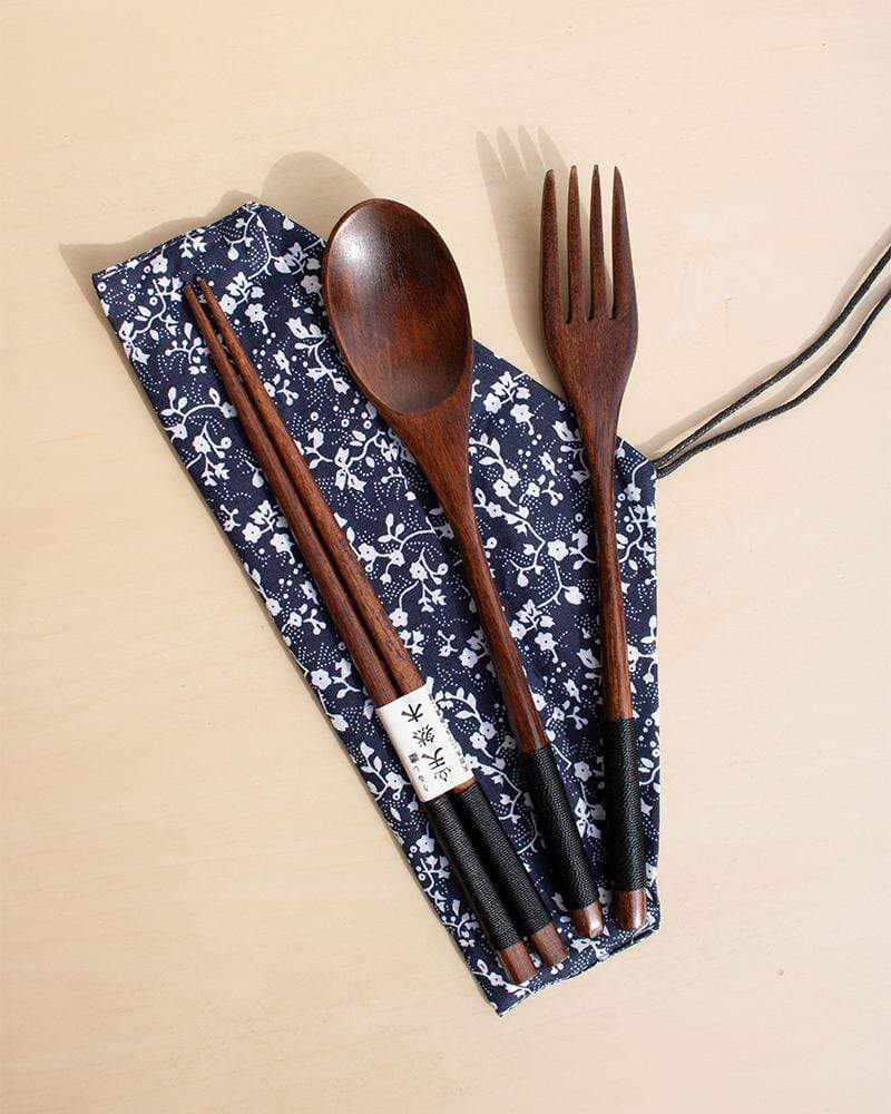 Japanese-Style Natural Wood Flatware Set