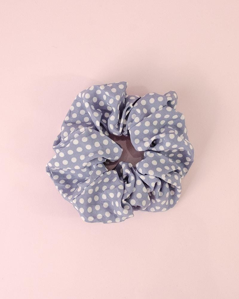 Polka dotted scrunchie sky blue colour style