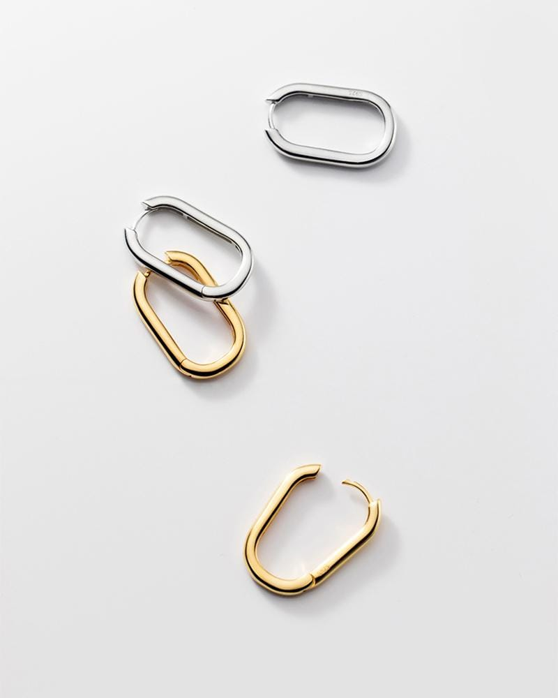 shop sukoshi Rounded Rectangle Hoop earrings silver and gold, sterling jewelry collection