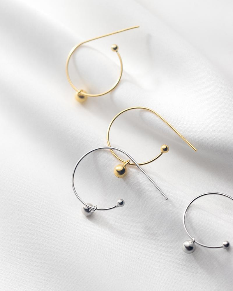 shop sukoshi Single Bead C-Hoop Earrings silver and gold sterling jewelry collection