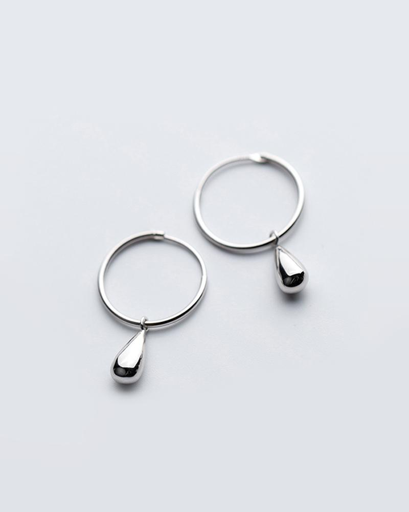 Shop sukoshi Single Teardrop Hoop Earrings silver sterling jewelry collection