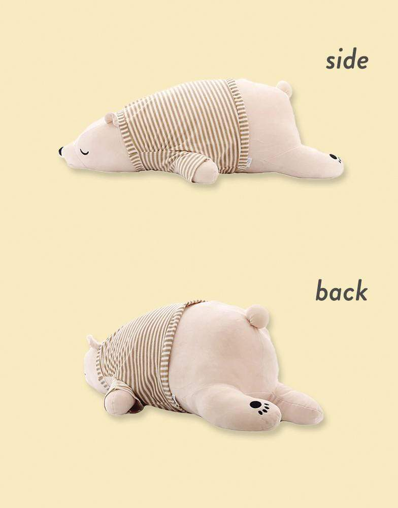 Sleepy Pajama Bear Plush Pillow in Side and Back View