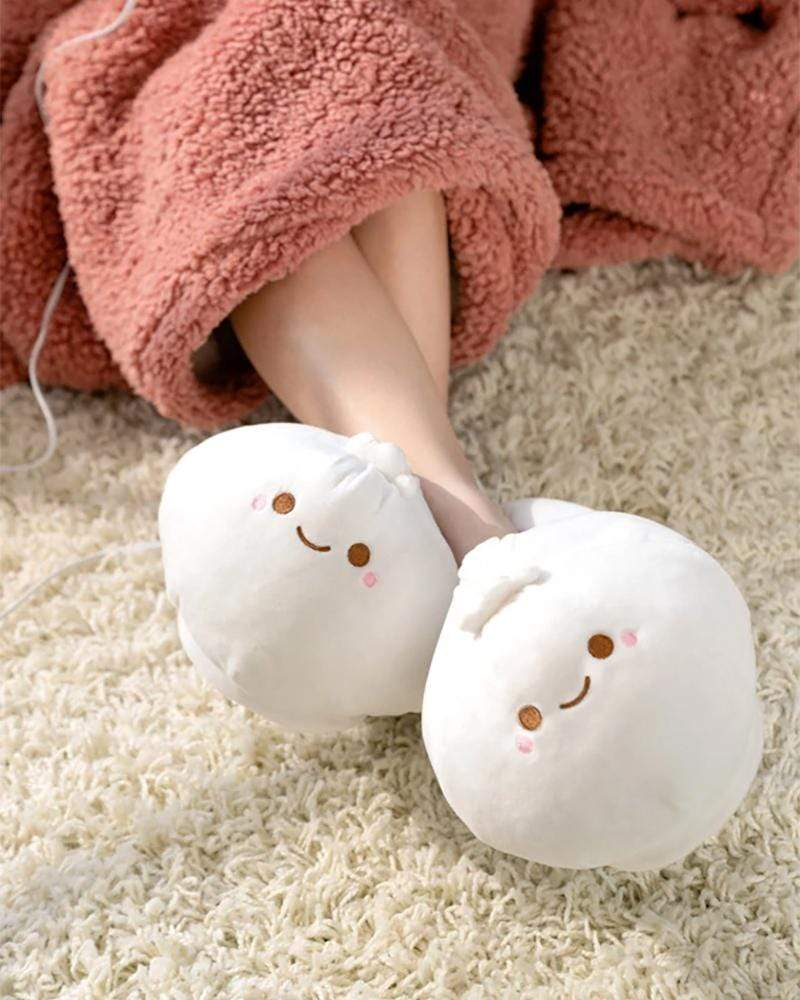 Smoko Lil B xiaolongbao dumpling heated slippers on feet