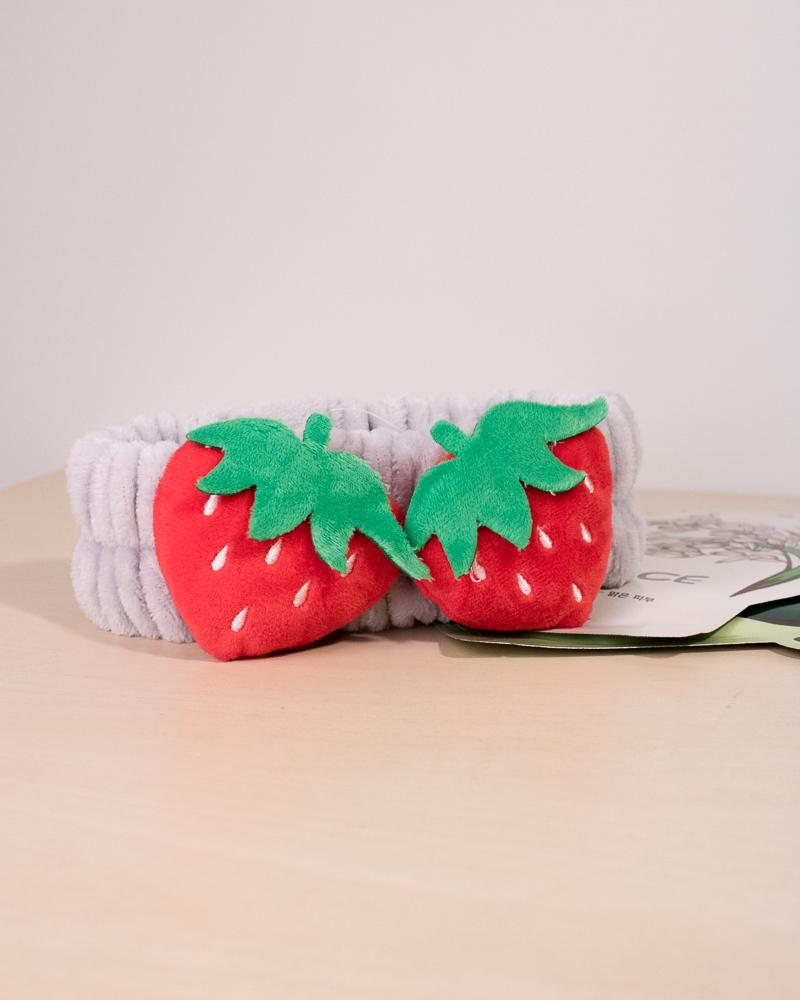 soft fluffy strawberry headband in grey colour style