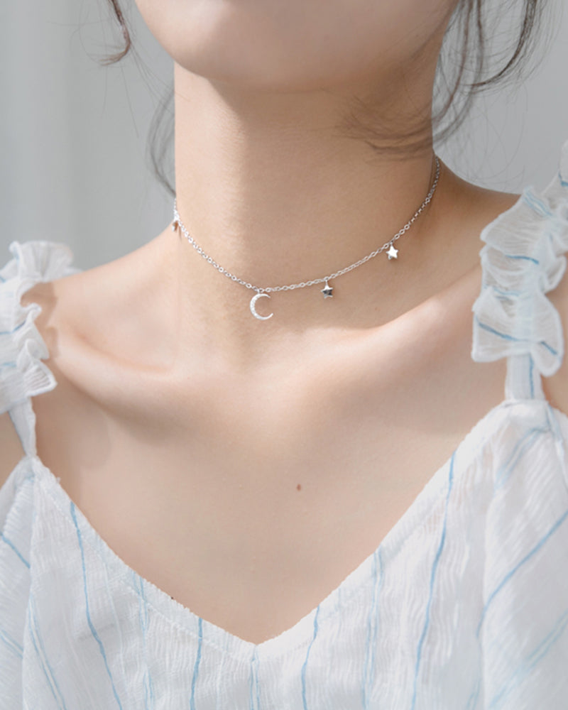 Shop Sukoshi Starry Night Choker Necklace Sterling Jewelry Collection displayed on model