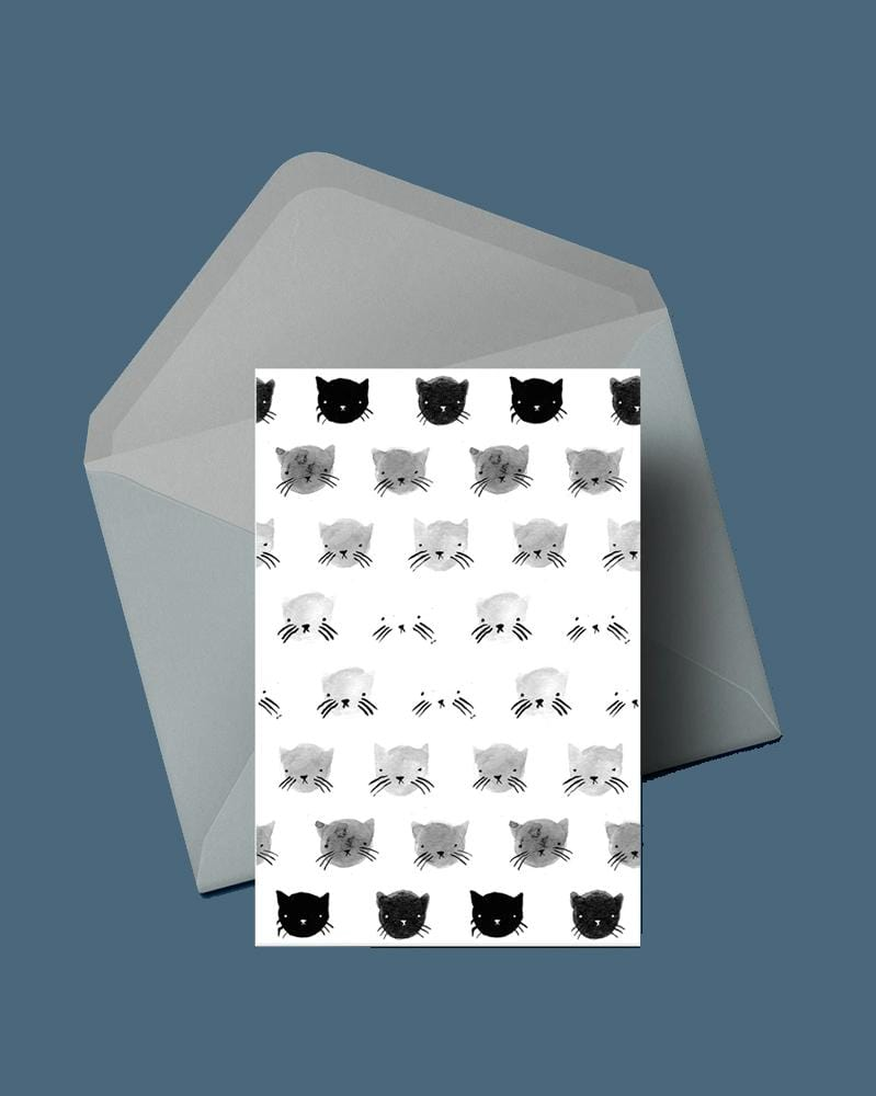 Stay Home Club Greeting Cards Greyscale Kitties