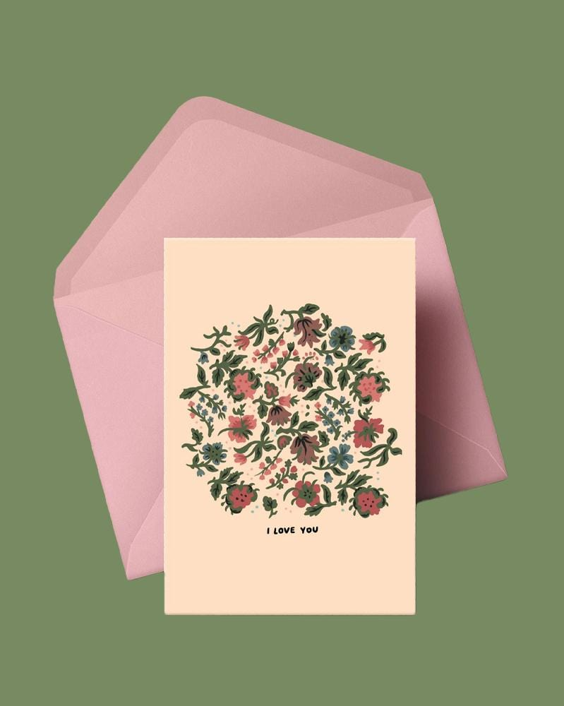 Stay Home Club Greeting Cards I Love You (Beige Flowers)
