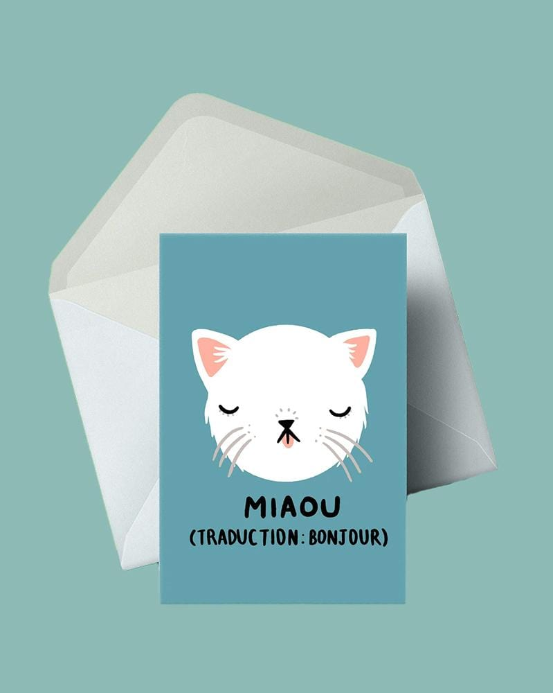 Stay Home Club Greeting Cards Miaou (Bonjour)