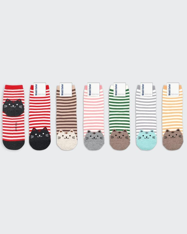 buy cute kawaii japanese striped kitty socks
