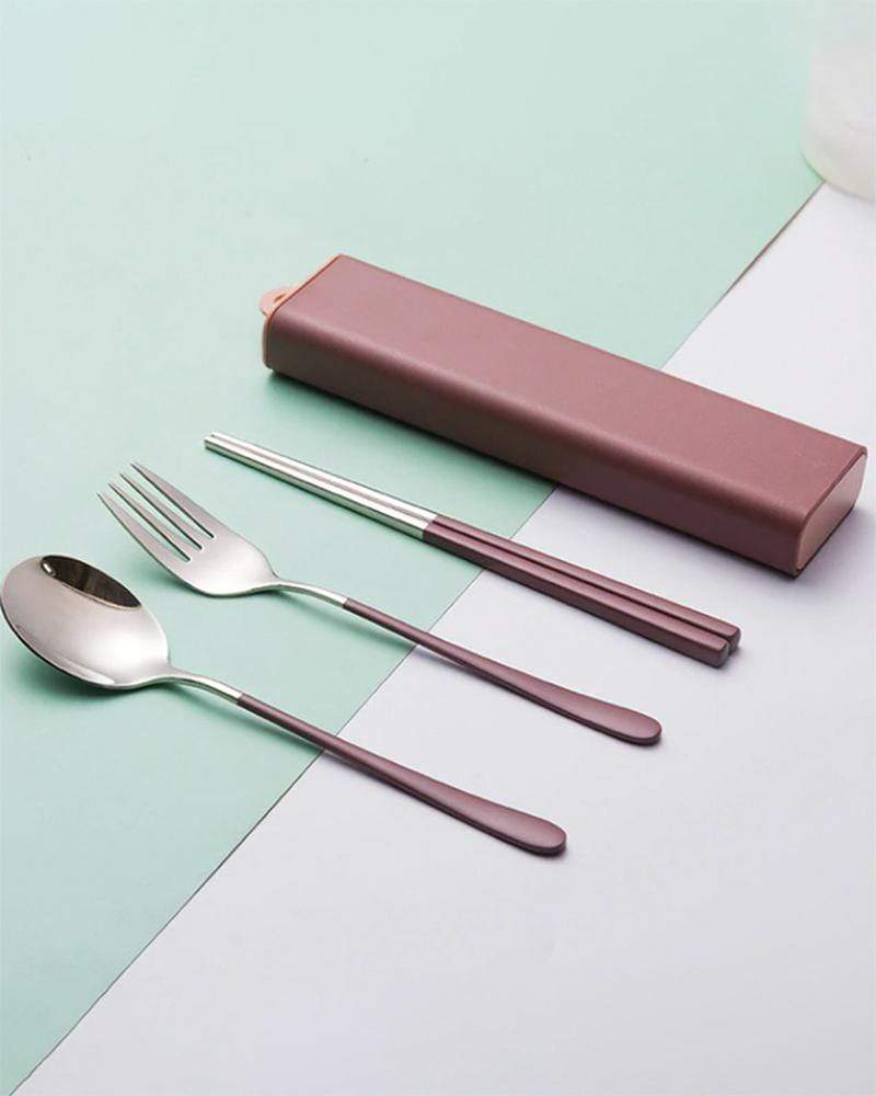 Shop Two-Tone Locking Portable Utensil Set in Mulberry