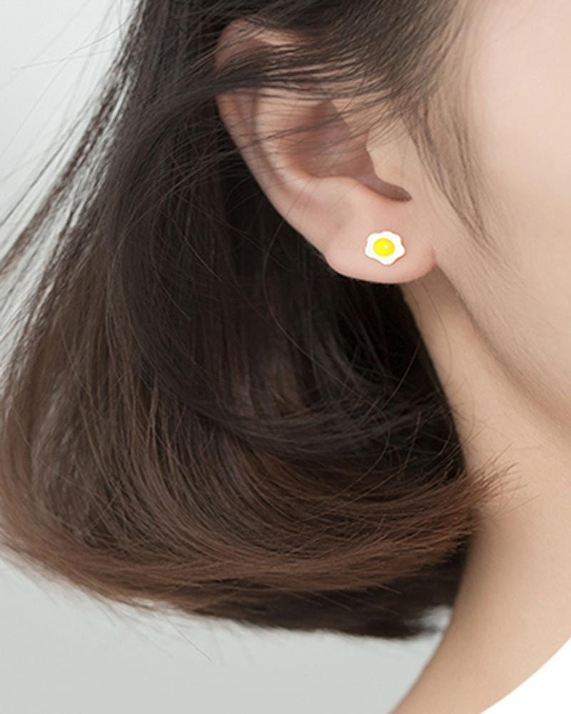 Breakfast Mismatched Stud Earrings on model - egg