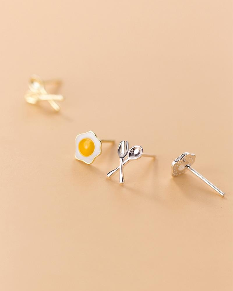Breakfast Mismatched Stud Earrings close up