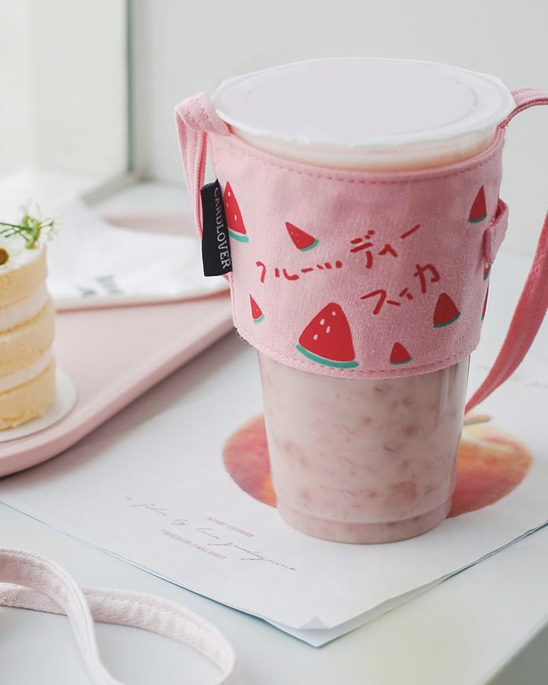 cardlover fruity series coffee and bubble milk tea cup holder sleeve watermelon design displayed with cup