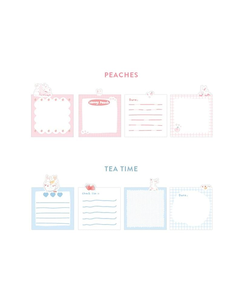 cardlover bunny life sticky notes various styles and designs: peaches and tea time styles