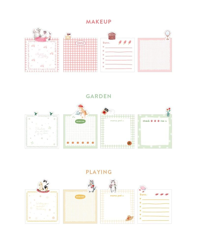 cardlover cat life sticky notes various styles and designs makeup, garden and playing cat designs