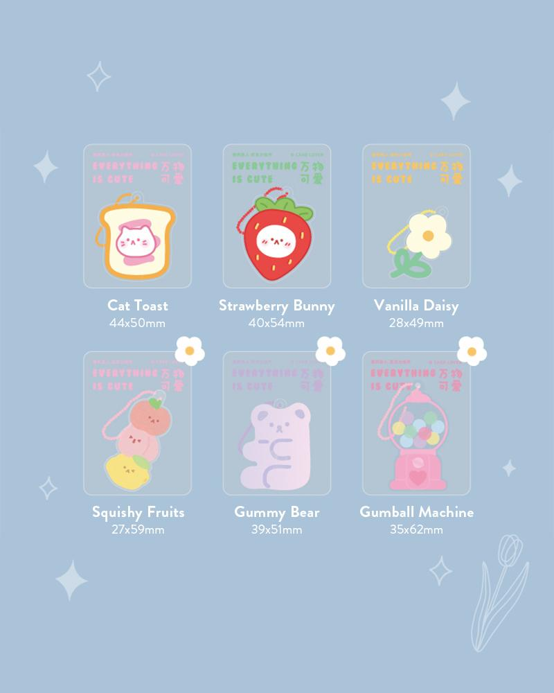 cardlover clear acrylic keychains various assorted designs cat toast, strawberry bunny, vanilla daisy, squishy fruits, gummy bear, gumball machine styles