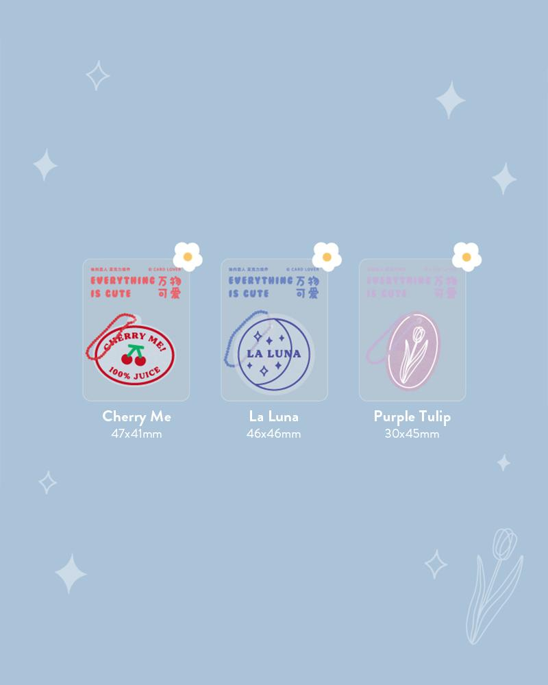 cardlover clear acrylic keychains various assorted designs display cherry me, la luna, purple tulip styles