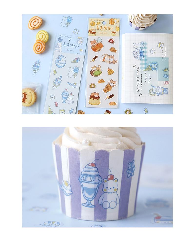 cardlover so delicious food pvc clear stickers various styles and designs all inspired by cute snacks pudding and ice cream versions