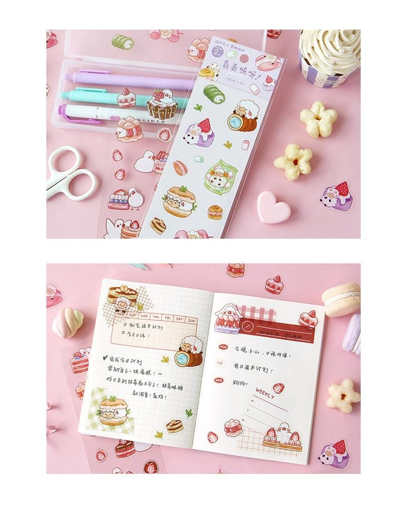cardlover so delicious food pvc clear stickers various styles and designs all inspired by cute snacks pastries and strawberry versions