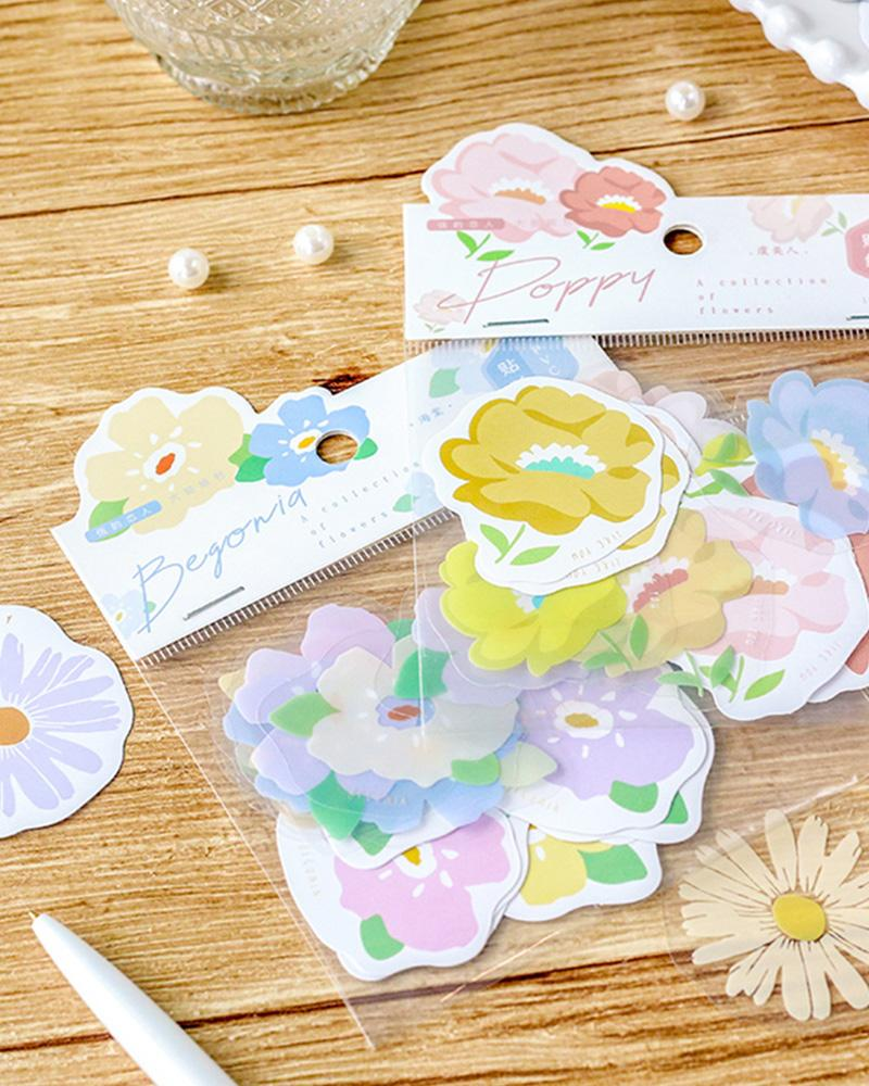 cardlover elegant lovers clear and paper floral flower stickers assorted designs and styles