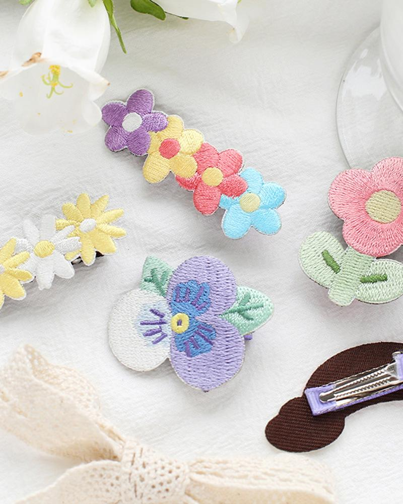 shop buy cardlover embroidered hair clips accessory cute assorted colours styles designs
