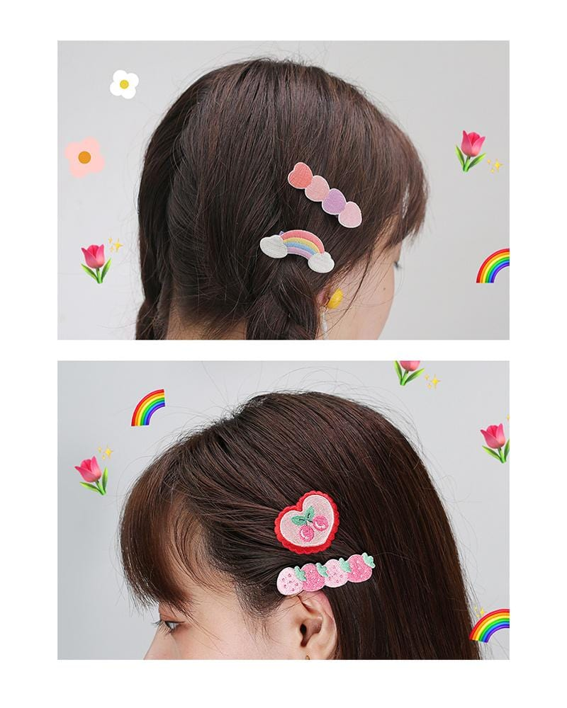 shop buy cardlover embroidered hair clips accessory cute assorted colours styles designs rainbow heart strawberry cherry