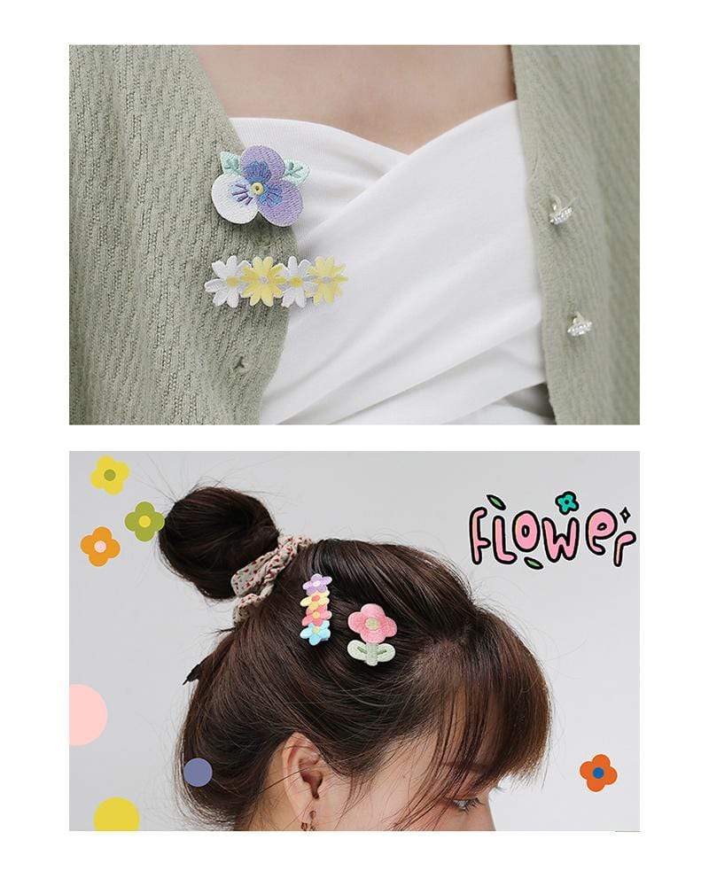 shop buy cardlover embroidered hair clips accessory cute assorted colours styles designs flower power daisy bloom