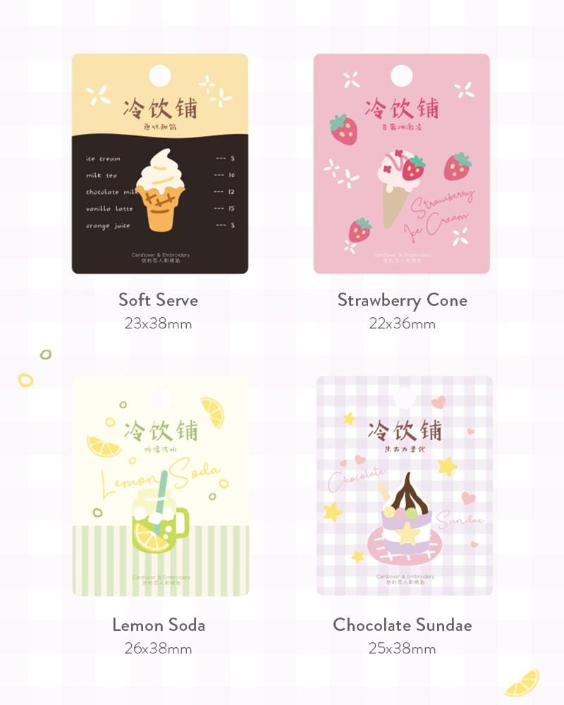 buy shop cardlover frosty treats ice cream shop embroidered patch assorted designs styles soft serve vanilla cone strawberry cone lemon soda chocolate sundae