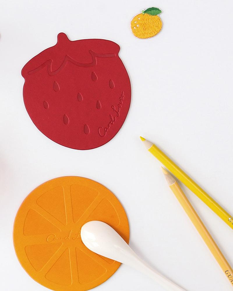 cardlover fruity vegan leather coasters in orange, strawberry, peach and lemon styles