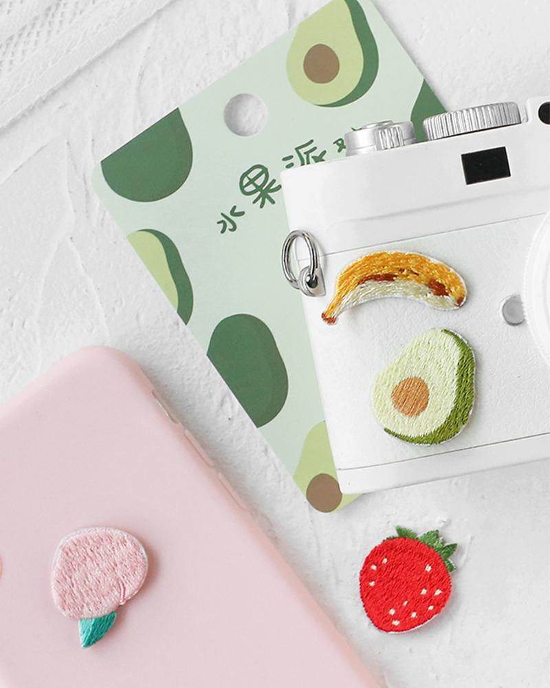 Cardlover fruit fiesta party vo.1 embroidered patches different usages on phone case and camera with styles like peach avocado banana and strawberry