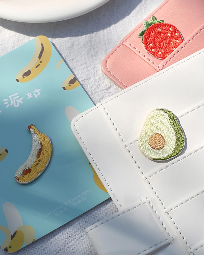 Cardlover fruit fiesta party vol.1 embroidered patches different usage on wallet with styles like avocado banana and strawberry