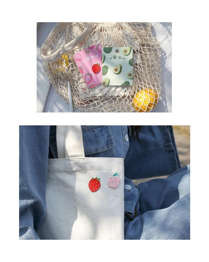Cardlover fruit fiesta party vol.1 embroidered patch different usages on totebag and shopping bag various styles peach avocado and strawberry
