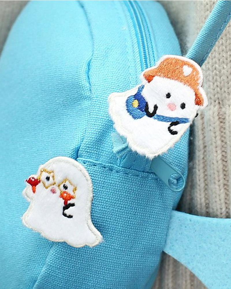 cardlover cute ghost embroidered pin various designs and styles, simple ghost and tourist ghost on backpack