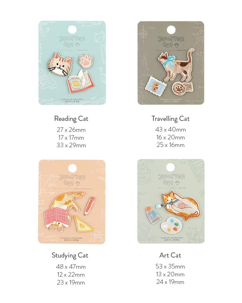 buy cardlover journal cat embroidered patches 4 styles