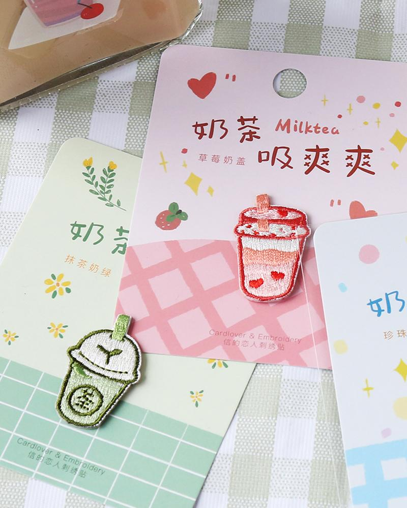 buy shop cardlover milk tea drink bubble boba embroidered patch cute assorted styles designs