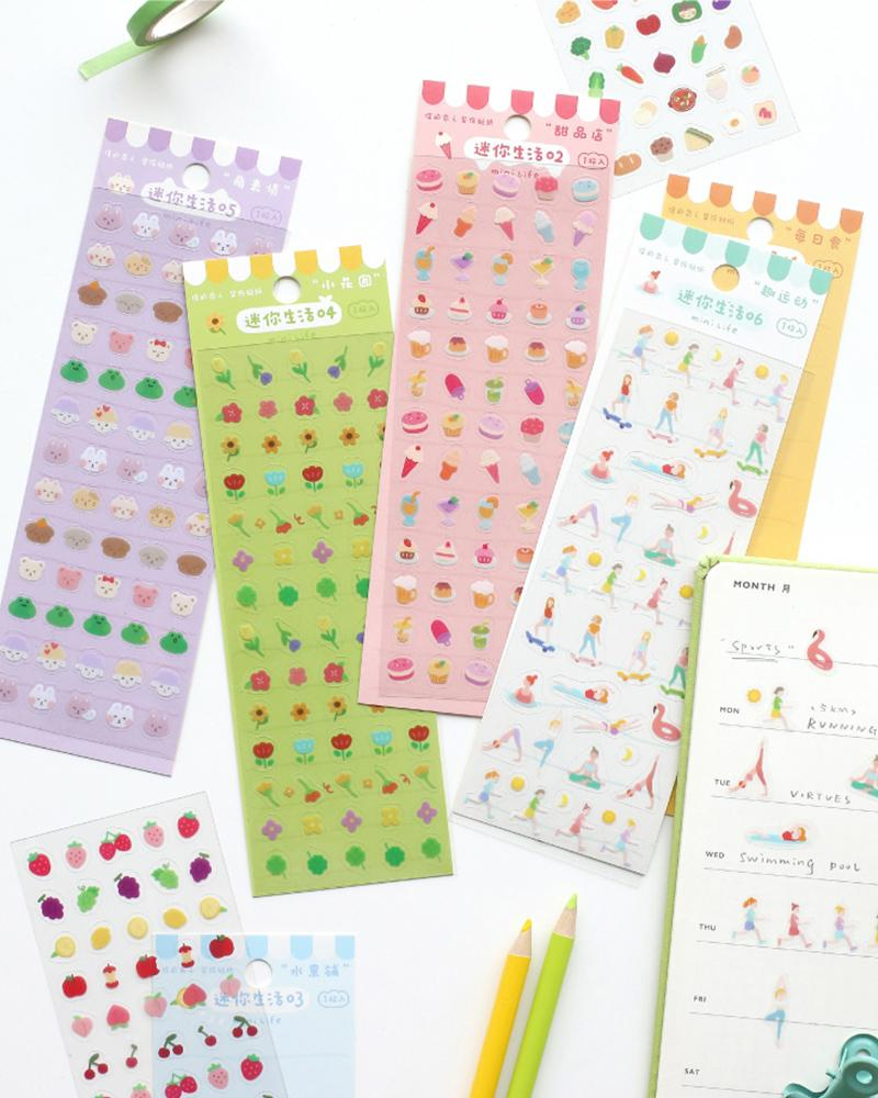 cardlover mini life volume 1 decorative pvc clear sticker packs with six different assorted designs