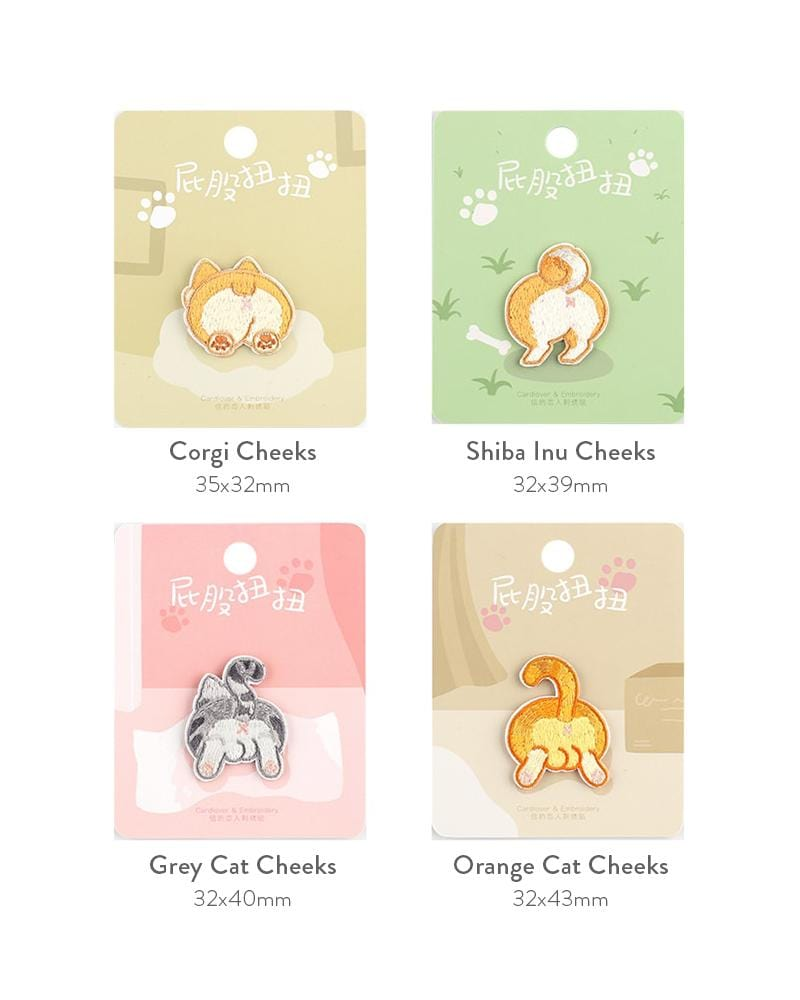 buy shop cardlover pet butt cheeks embroidered patch corgi shiba inu grey cat orange cat cute assorted designs