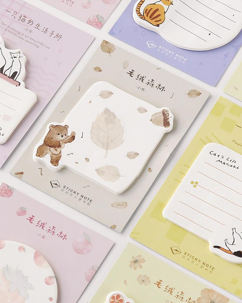 shop buy cardlover plush forest animal sticky notes cute assorted styles designs
