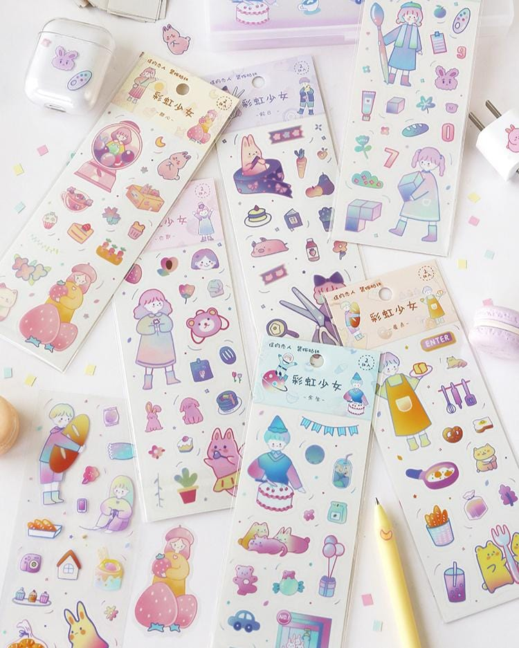 shop cardlover rainbow children PVC stickers 6 styles