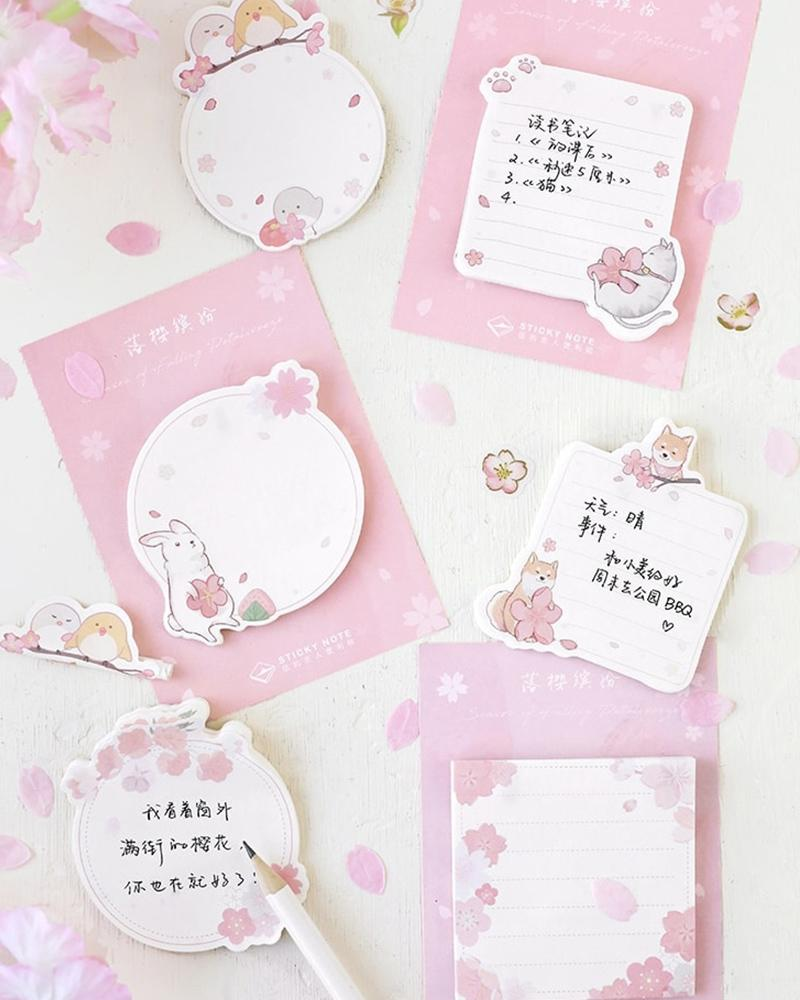 buy shop cardlover sakura sticky notes cute pink stationery assorted styles designs
