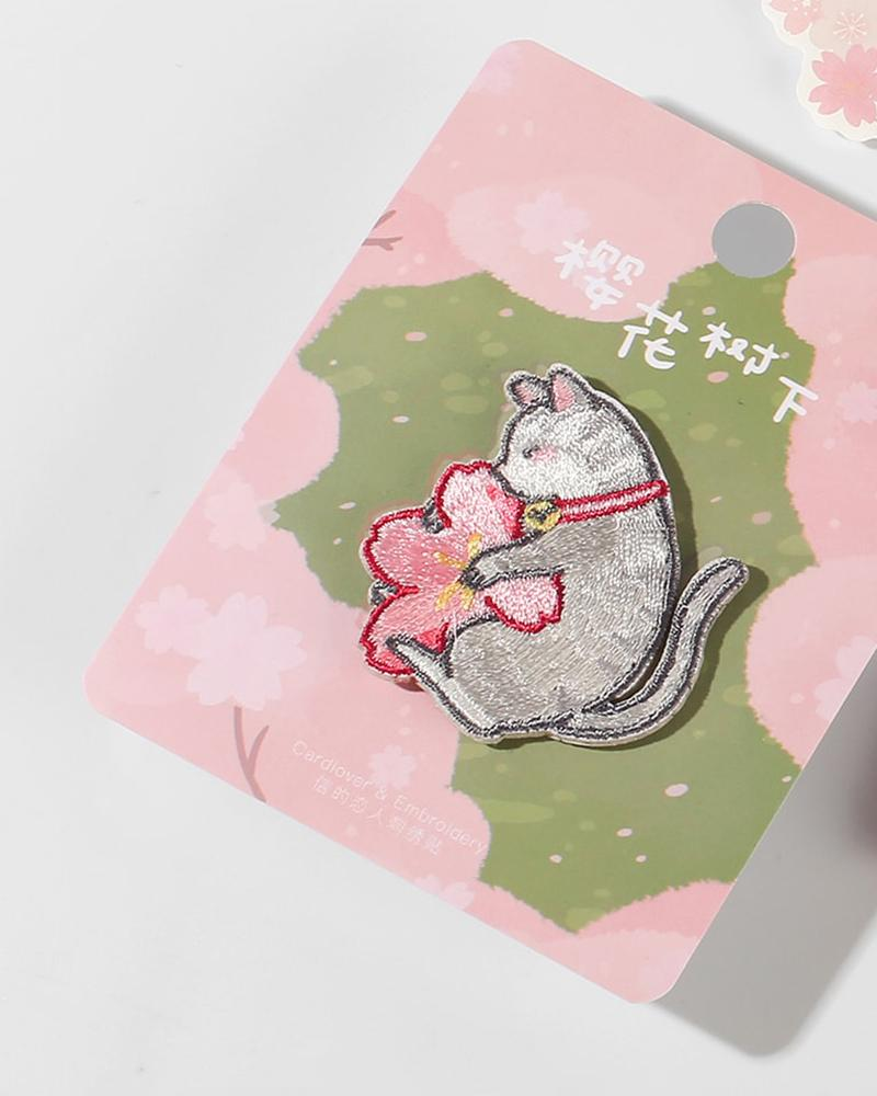 shop cardlover under the sakura tree embroidered patches grey kitten close up