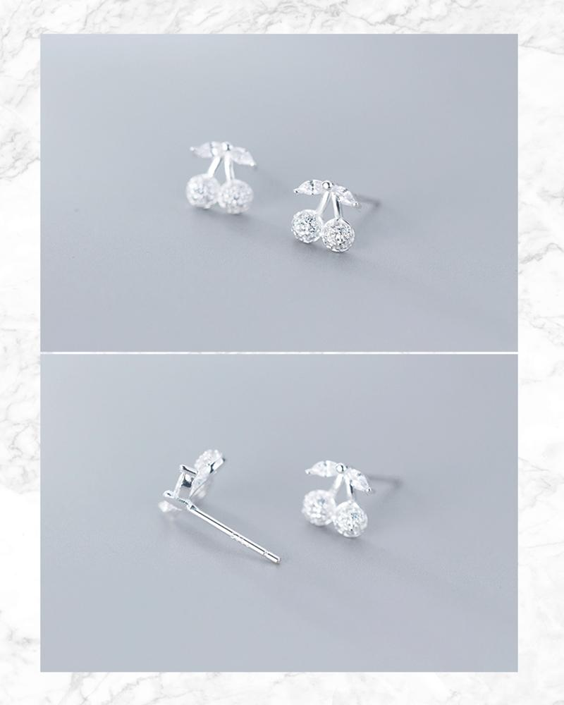 shop sukoshi, silver Cherry Rhinestone Stud Earrings details, sterling jewelry collection