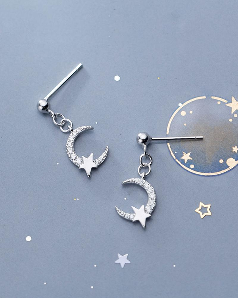 shop sukoshi, silver Crescent Moon Rhinestone Dangle Earrings, sterling jewelry collection