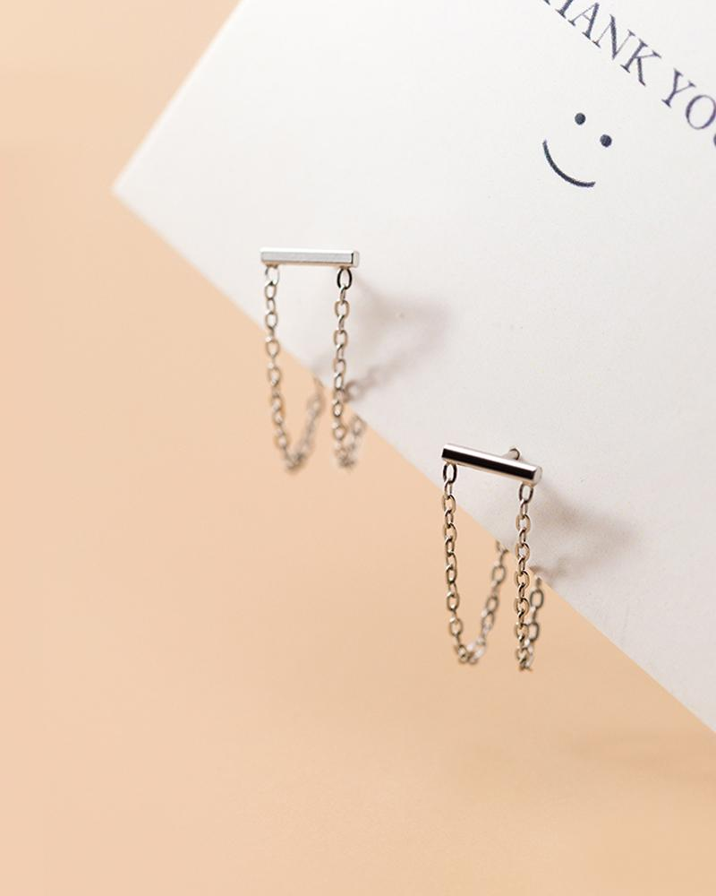 shop sukoshi silver Double Chain Dangle Earrings, sterling jewelry collection