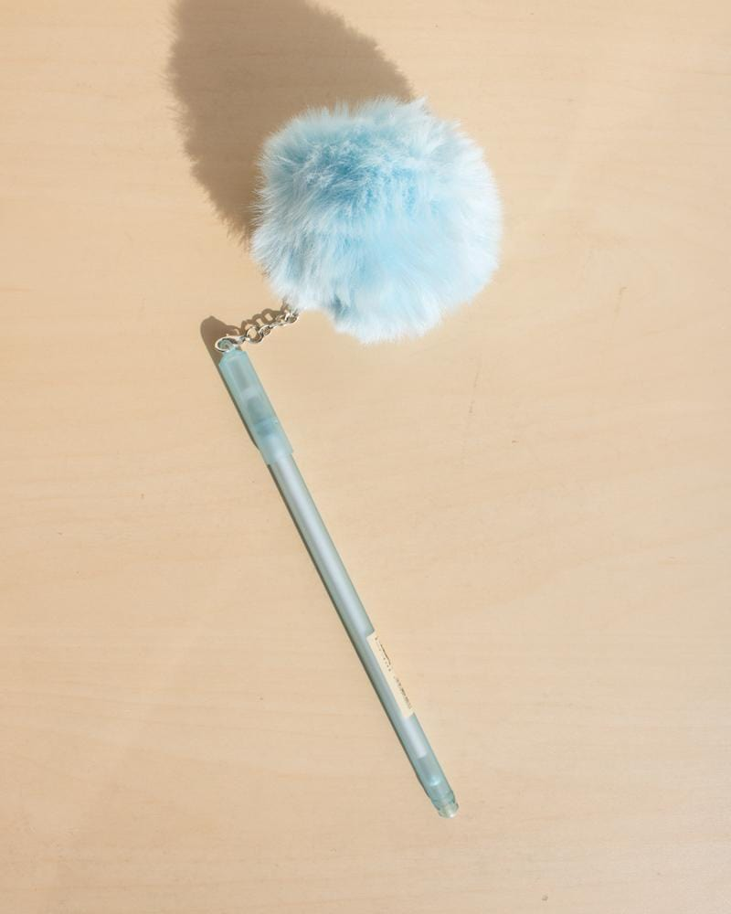 Shop Fluffy Puffball Gel Pens, stationery accessories, blue