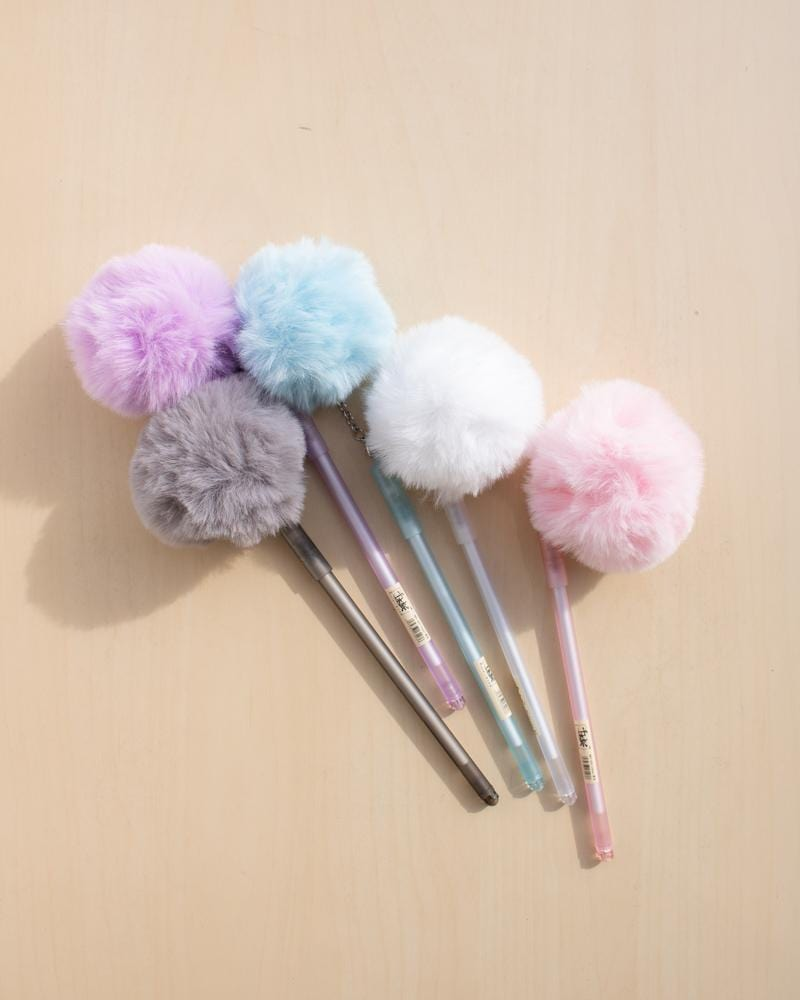Shop Fluffy Puffball Gel Pens, stationery accessories, white, blue, grey, purple, pink